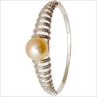 Sea Water Pearl Diamond Half Bangle