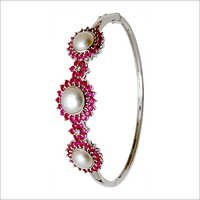 Designer Ruby Diamond Pearl Bangle Bracelet