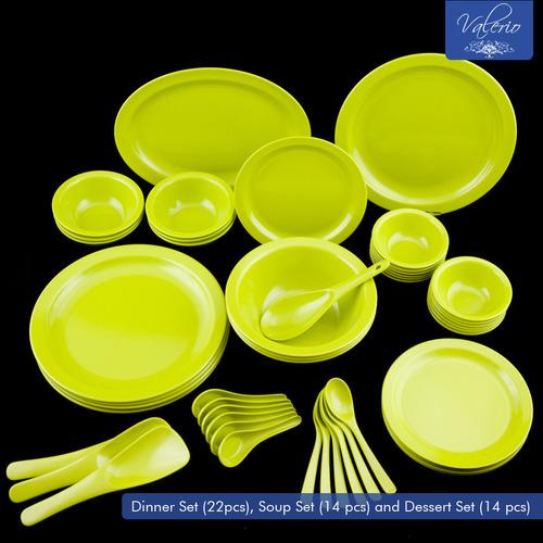 Lime Green Melamine 50 Pcs Dinner Set