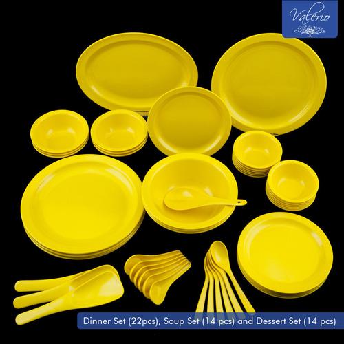 Lemon Yellow Melamine 50 Pcs Dinner Set