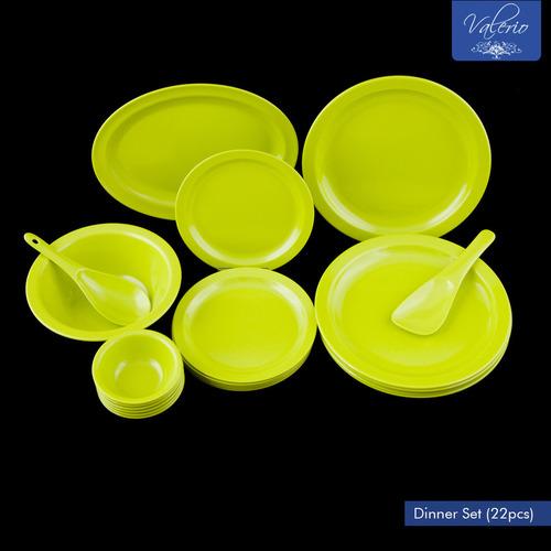 Lime Green Melamine 22 Pcs Dinner Set
