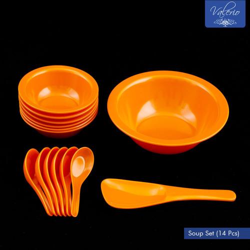 Orange Melamine 14 Pcs Soup Set