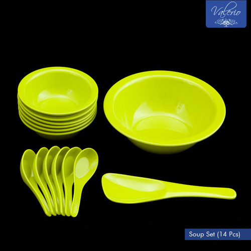 Lime Green Melamine 14 Pcs Soup Set