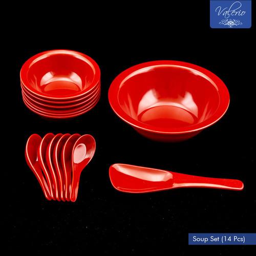 Grapefruit Red Melamine 14 Pcs Soup Set
