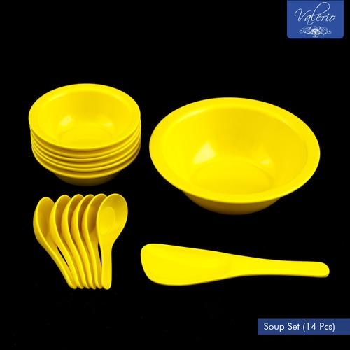 Lemon Yellow Melamine 14 Pcs Soup Set