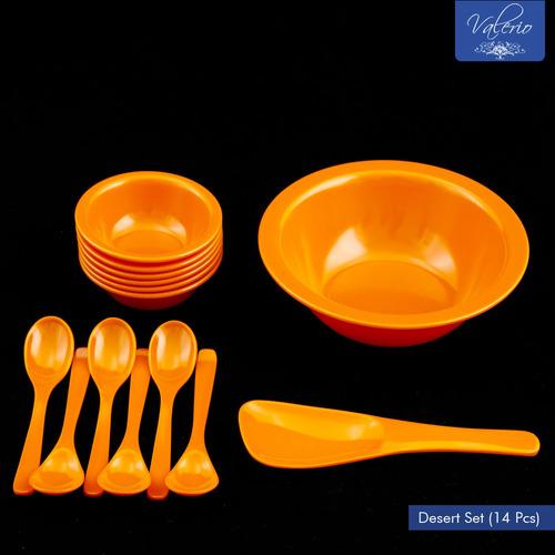Orange Melamine 14 Pcs Desert Set