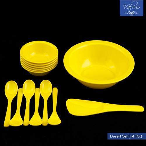 Lemon Yellow Melamine 14 Pcs Desert Set