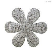 Sterling Silver Flower Shape Diamond Pendant