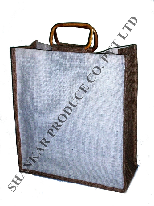 Cane Handle Jute Shopping Bag