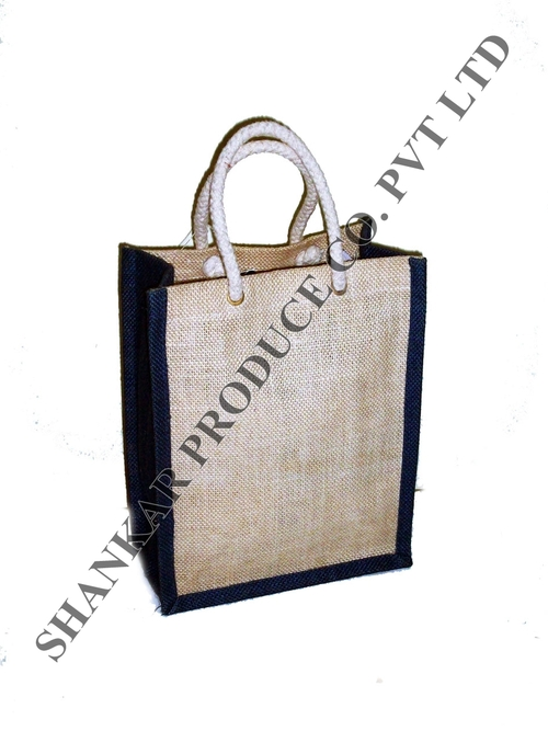 Round Cane Handle Jute Handbag