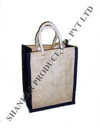 Round Cane Handle Jute Handbag