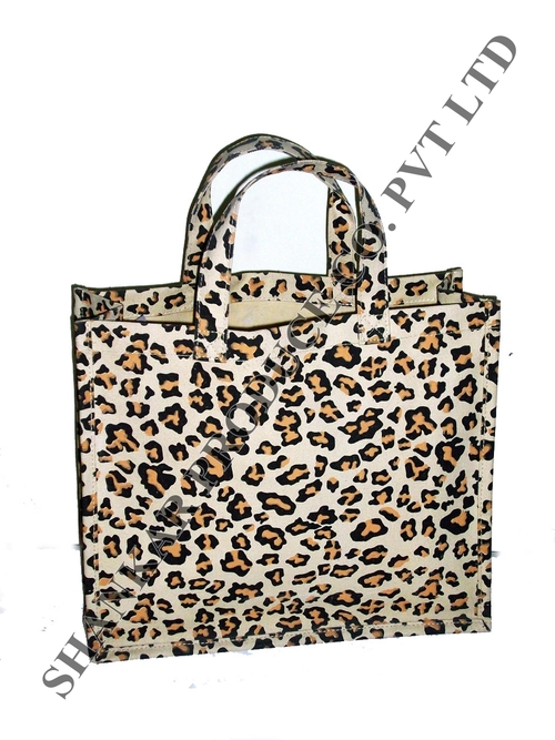 Leopard Print Jute Shopping Bag