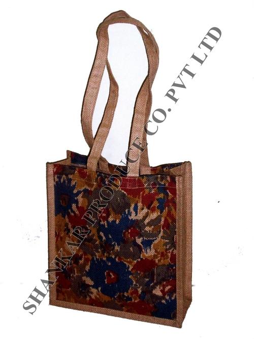 Flower Printed Jute Shopping Bag