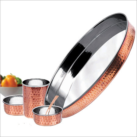 Copper Steel Thali Set