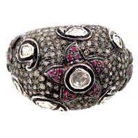 Sterling Silver Diamond Ruby Ring