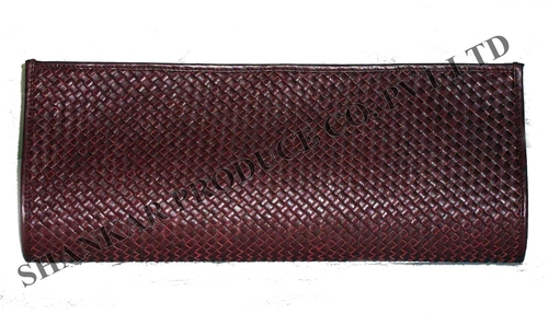 Leather Hand Woven Clutch Bag