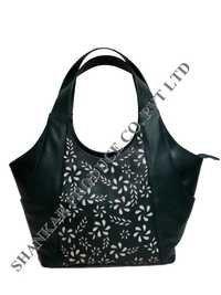 Dye Cut Leather Shoulder Bag
