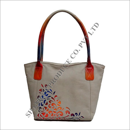 Leather Cutwork Tote Bag