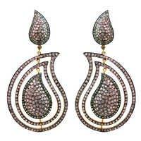 Silver Pave Diamond Earrings Jewelry
