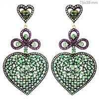 Tsavorite Pink Sapphire Diamond Gold Earrings