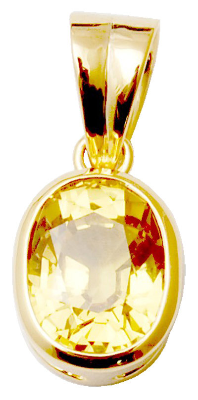 Jupiter birthstone sapphire  stone gold pendant, Yello Sapphire gold Pendent from indian manufactur