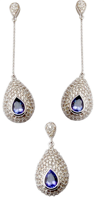 latest  blue saphire stone pendent, beautiful gold pendent & earring set for teenage