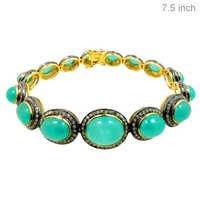 Gold Emerald Diamond Bracelet