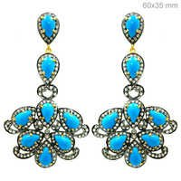 Pave Diamond Turquoise Gold Earrings