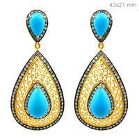 Gold Pave Diamond Turquoise Earrings