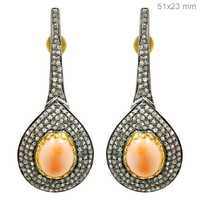 Gold Coral Diamond Earrings