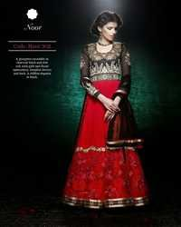 Red & Black Long Anarkali Salwar Suit