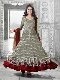 Long Pakistani Grey Salwar Suit