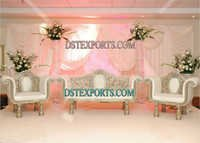 WEDDING HEAVY CARVING SILVER FURNITURE SET