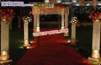 Indian Wedding Aisleway Crystal Pillars