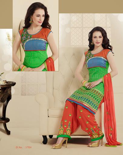 Green & Orange Punjabi Suit