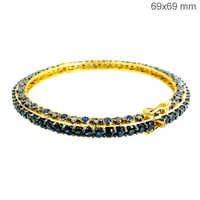 Gold Sapphire Diamond Bangle