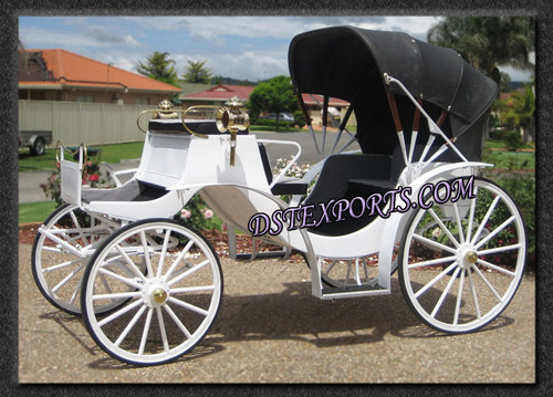 White Victoria Carriage With Black Hood