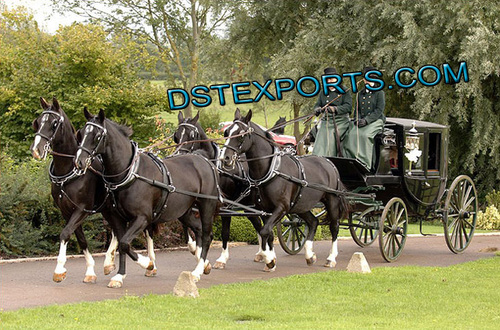 New Black Covered Horse Carriage