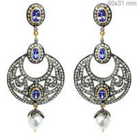 Tanzanite Pearl Diamond Gold Earrings