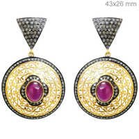Ruby Pave Diamond Gold Earrings