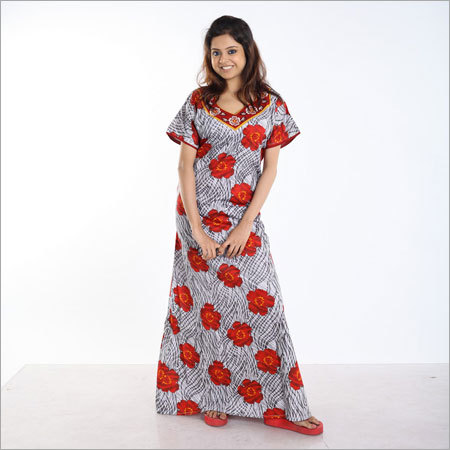 Cotton Embroidery Nighty