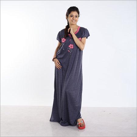 Ganjee Plain Embroidery Nighty