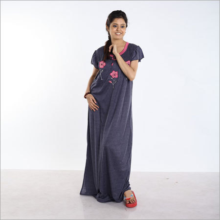 Ganjee Plain Embroidery Nighty