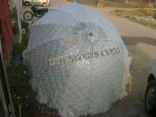 Wedding Embroidered Silver Umbrella