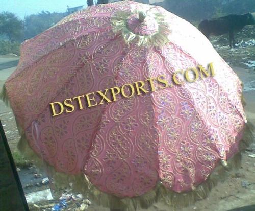 Wedding Heavy Embroidered Pink Umbrella
