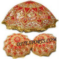 Wedding Decorated Red And Gold Umbrella