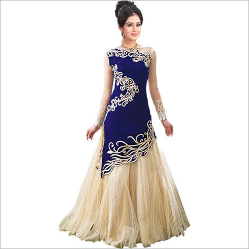 BLUE VELVET ANARKALI GOWN