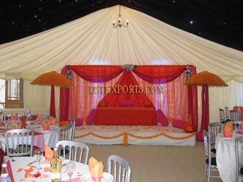 Wedding Stage Skyblue Umbrellas