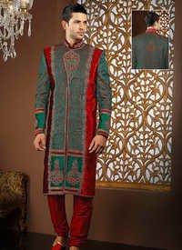 Stunning Green And Red Sherwani