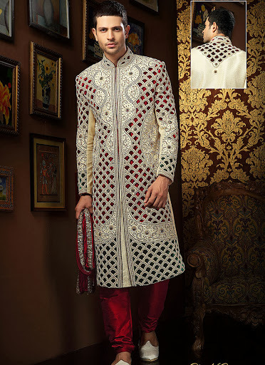 Cut Work Enhanced Banarasi Sherwani